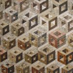 <b>Ascending Hollow Cubes</b>     recycled rulers     112 x 127cm <font color=&quot;#CC0000&quot;>sold</font>