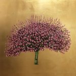 <b>Pink Blossom 2</b>  |  oil &amp; gold leaf on board  |  81 x 81cm     <font color=&quot;#CC0000&quot;>sold</font>