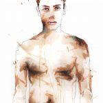 <b>Untitled Male Portrait</b>  |  watercolour, acrylic on perspex  |  85 x 70cm