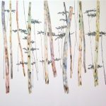 <b>Amongst the Eucalyptus</b>  |  watercolour &amp; oil on paper  |  103 x 103cm     <font color=&quot;#CC0000&quot;>sold</font>