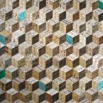 <b>Green Tumbling Blocks</b>     recycled rulers     103 x 119cm