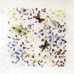 <b>Little Dreams XII</b>  |  wildflower petals, vintage butterflies, watch &amp; clock parts  |  31 x 31cm