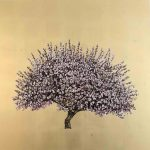 <b>Lavender Blossom</b>     oil &amp; gold leaf on board     100 x 100cm