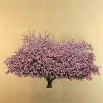 <b>Pink Blossom</b>     oil &amp; gold leaf on board     100 x 100cm