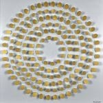 <b>Gold and White Dowels Circle</b>  |  mixed media  |  73 x 73cm   <br /> <a href=&quot;https://www.cube-gallery.co.uk/peter-monaghan-gold-and-white-dowels-circle/&quot;><font color=&quot;#bcbcbc&quot;>Click here to view video</font></a>
