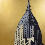 <b>Chrysler Building</b>  |  screen print on Archival museum board, hand applied gold leaf</br>edition of 12  |  80 x 60cm