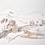 <b>Staoineag Bothy</b>  |  watercolour &amp; oil on paper  |  71 x 81.5cm