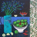 <b>Still Life With Apples and Iris</b>  |  acrylic on canvas  |  107 x 107cm     <font color=&quot;#CC0000&quot;>sold</font>