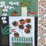<b>Still Life With Persimmon II</b>  |  acrylic on canvas  |  100 x 100cm     <font color=&quot;#CC0000&quot;>sold</font>
