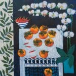 <b>Persimmons and White Table</b>  |  acrylic on canvas  |  100 x 100cm&nbsp;&nbsp;&nbsp;&nbsp; <font color=&quot;#CC0000&quot;>sold</font>      <br /> <a href=&quot;https://www.cube-gallery.co.uk/relton-marine-persimmons-and-white-table/&quot;><font color=&quot;#bcbcbc&quot;>Click here for close up images</font></a>