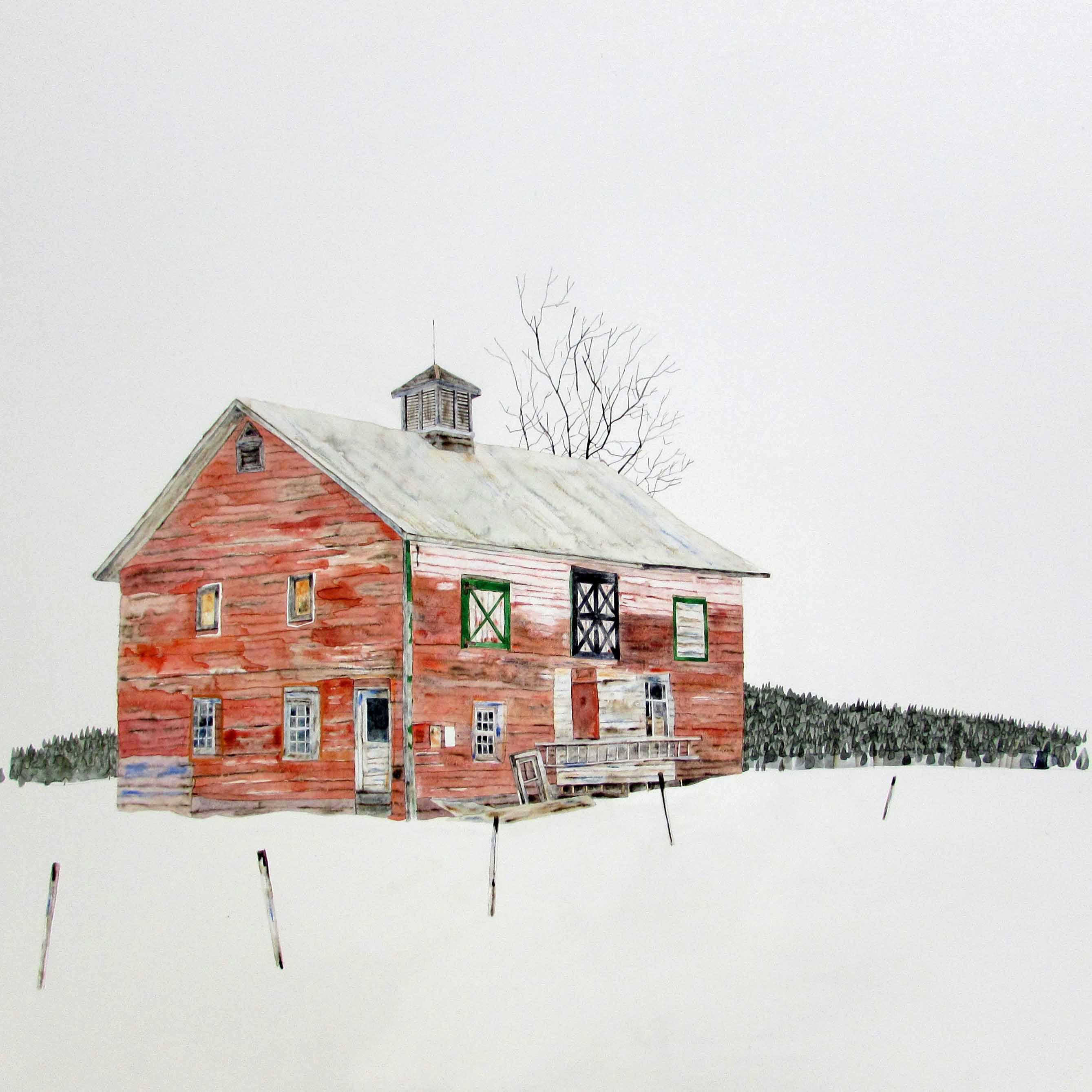 Red Farmhouse, 80x80cm