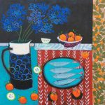<b>Still Life With Red Tablecloth</b>     acrylic on canvas     91 x 91cm      <br /> <a href=&quot;https://www.cube-gallery.co.uk/relton-marine-still-life-with-red-table-cloth/&quot;><font color=&quot;#bcbcbc&quot;>Click here for close up images</font></a>