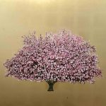 <b>Pink Blossom on Gold I</b>  |  oil &amp; gold leaf on board  |  100 x 100cm      <br /> <a href=&quot;https://www.cube-gallery.co.uk/jack-frame-pink-blossom-on-gold-i/&quot;><font color=&quot;#bcbcbc&quot;>Click here for close up images</font></a>
