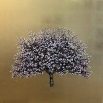 <b>Apple Blossom II</b>  |  gold leaf &amp; oil on board  |  117 x 117cm     <font color=&quot;#CC0000&quot;>sold</font>       <br /> <a href=&quot;https://www.cube-gallery.co.uk/jack-frame-apple-blossom-ii/&quot;><font color=&quot;#bcbcbc&quot;>Click here for close up images</font></a>