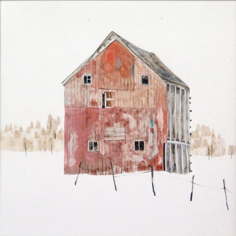 Kate Evans Red Winter Barn, 34x34cm copy